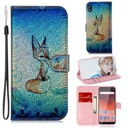 Cute Fox Laser Shining Leather Wallet Phone Case for Nokia 1 Plus (2019)