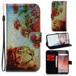 Tiger Rose Laser Shining Leather Wallet Phone Case for Nokia 1 Plus (2019)