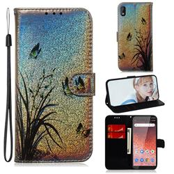 Butterfly Orchid Laser Shining Leather Wallet Phone Case for Nokia 1 Plus (2019)