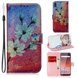 Magnolia Laser Shining Leather Wallet Phone Case for Nokia 1 Plus (2019)