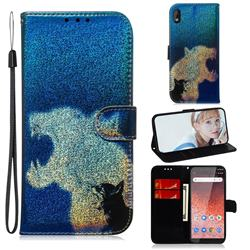 Cat and Leopard Laser Shining Leather Wallet Phone Case for Nokia 1 Plus (2019)