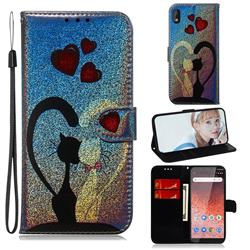 Love Cat Laser Shining Leather Wallet Phone Case for Nokia 1 Plus (2019)