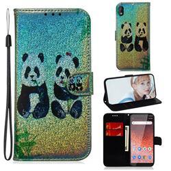 Two Pandas Laser Shining Leather Wallet Phone Case for Nokia 1 Plus (2019)