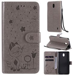 Embossing Bee and Cat Leather Wallet Case for Nokia 1 Plus (2019) - Gray