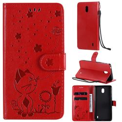 Embossing Bee and Cat Leather Wallet Case for Nokia 1 Plus (2019) - Red