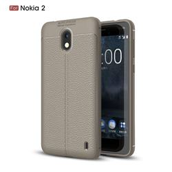 Luxury Auto Focus Litchi Texture Silicone TPU Back Cover for Nokia 2 - Gray