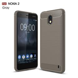 Luxury Carbon Fiber Brushed Wire Drawing Silicone TPU Back Cover for Nokia 2 - Gray