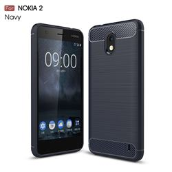 Luxury Carbon Fiber Brushed Wire Drawing Silicone TPU Back Cover for Nokia 2 - Navy