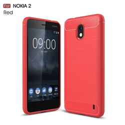 Luxury Carbon Fiber Brushed Wire Drawing Silicone TPU Back Cover for Nokia 2 - Red