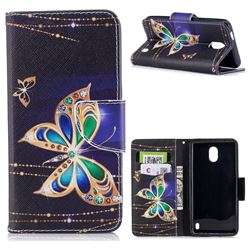 Golden Shining Butterfly Leather Wallet Case for Nokia 2