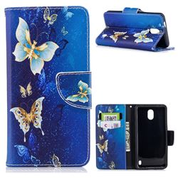 Golden Butterflies Leather Wallet Case for Nokia 2