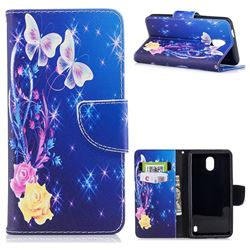 Yellow Flower Butterfly Leather Wallet Case for Nokia 2
