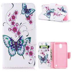 Peach Butterflies Leather Wallet Case for Nokia 2