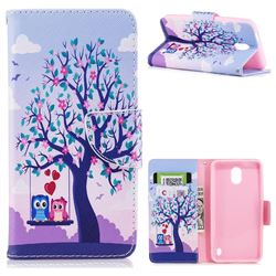 Tree and Owls Leather Wallet Case for Nokia 2