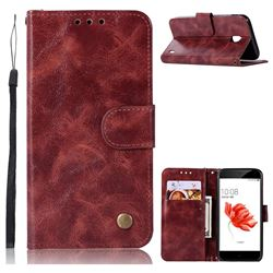 Luxury Retro Leather Wallet Case for Nokia 2 - Wine Red
