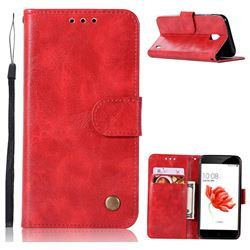 Luxury Retro Leather Wallet Case for Nokia 2 - Red