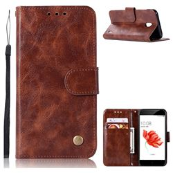 Luxury Retro Leather Wallet Case for Nokia 2 - Brown