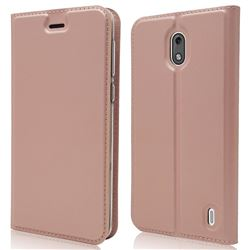 Ultra Slim Card Magnetic Automatic Suction Leather Wallet Case for Nokia 2 - Rose Gold