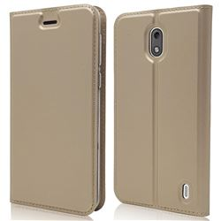 Ultra Slim Card Magnetic Automatic Suction Leather Wallet Case for Nokia 2 - Champagne