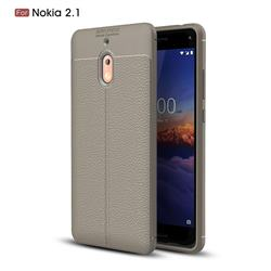 Luxury Auto Focus Litchi Texture Silicone TPU Back Cover for Nokia 2.1 - Gray