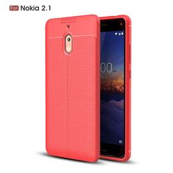 Luxury Auto Focus Litchi Texture Silicone TPU Back Cover for Nokia 2.1 - Red