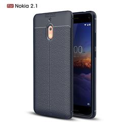 Luxury Auto Focus Litchi Texture Silicone TPU Back Cover for Nokia 2.1 - Dark Blue