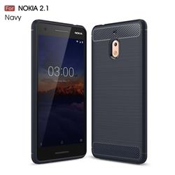 Luxury Carbon Fiber Brushed Wire Drawing Silicone TPU Back Cover for Nokia 2.1 - Navy