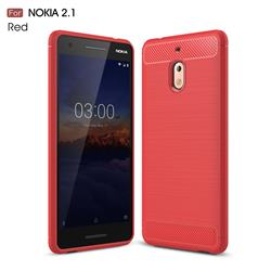 Luxury Carbon Fiber Brushed Wire Drawing Silicone TPU Back Cover for Nokia 2.1 - Red