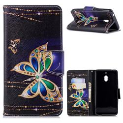 Golden Shining Butterfly Leather Wallet Case for Nokia 2.1