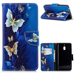 Golden Butterflies Leather Wallet Case for Nokia 2.1