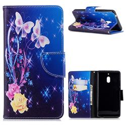 Yellow Flower Butterfly Leather Wallet Case for Nokia 2.1