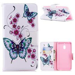 Peach Butterflies Leather Wallet Case for Nokia 2.1