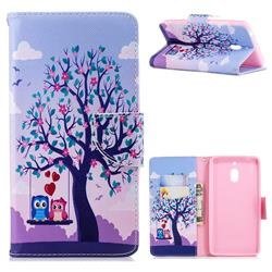 Tree and Owls Leather Wallet Case for Nokia 2.1