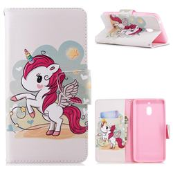 Cloud Star Unicorn Leather Wallet Case for Nokia 2.1