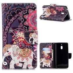 Totem Flower Elephant Leather Wallet Case for Nokia 2.1