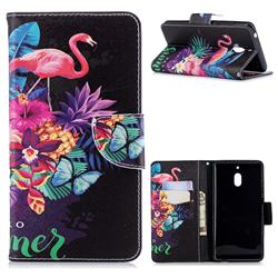 Flowers Flamingos Leather Wallet Case for Nokia 2.1