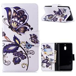 Butterflies and Flowers Leather Wallet Case for Nokia 2.1