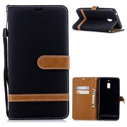 Jeans Cowboy Denim Leather Wallet Case for Nokia 2.1 - Black