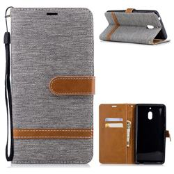 Jeans Cowboy Denim Leather Wallet Case for Nokia 2.1 - Gray