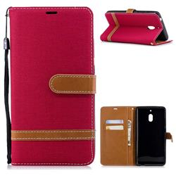 Jeans Cowboy Denim Leather Wallet Case for Nokia 2.1 - Red