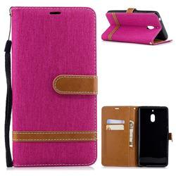 Jeans Cowboy Denim Leather Wallet Case for Nokia 2.1 - Rose