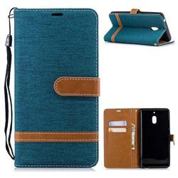 Jeans Cowboy Denim Leather Wallet Case for Nokia 2.1 - Green