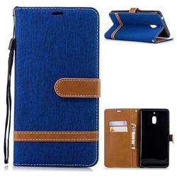 Jeans Cowboy Denim Leather Wallet Case for Nokia 2.1 - Sapphire