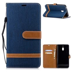 Jeans Cowboy Denim Leather Wallet Case for Nokia 2.1 - Dark Blue