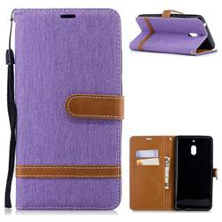 Jeans Cowboy Denim Leather Wallet Case for Nokia 2.1 - Purple
