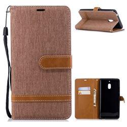 Jeans Cowboy Denim Leather Wallet Case for Nokia 2.1 - Brown