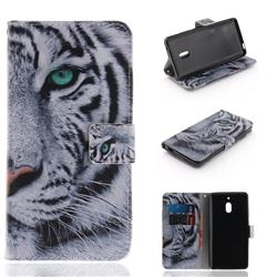 White Tiger PU Leather Wallet Case for Nokia 2.1