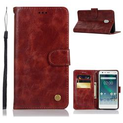 Luxury Retro Leather Wallet Case for Nokia 2.1 - Wine Red