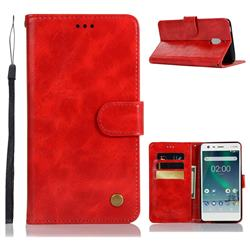 Luxury Retro Leather Wallet Case for Nokia 2.1 - Red