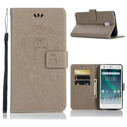 Intricate Embossing Owl Campanula Leather Wallet Case for Nokia 2.1 - Grey